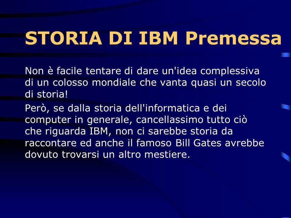 STORIA DI IBM Premessa Non è facile tentare di dare un idea complessiva di un colosso mondiale che vanta quasi un secolo di storia!