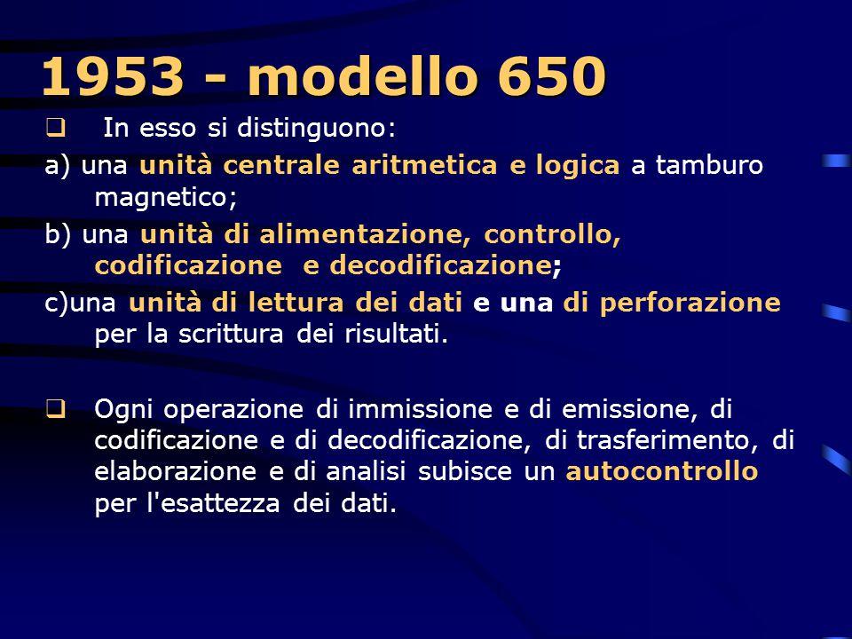 1953 - modello 650 In esso si distinguono: