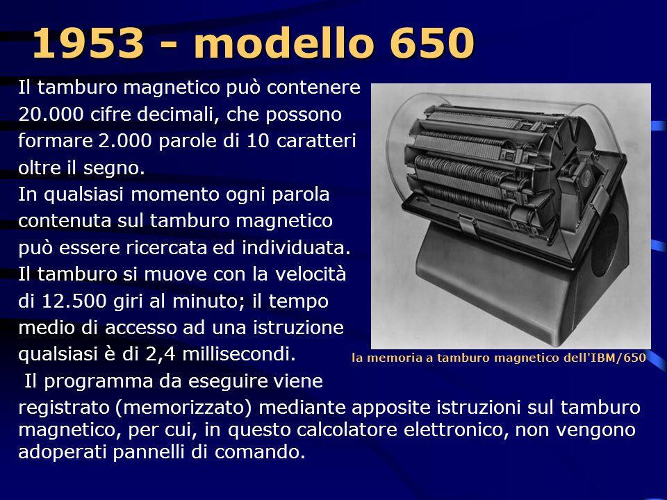 1953 - modello 650 Il tamburo magnetico può contenere