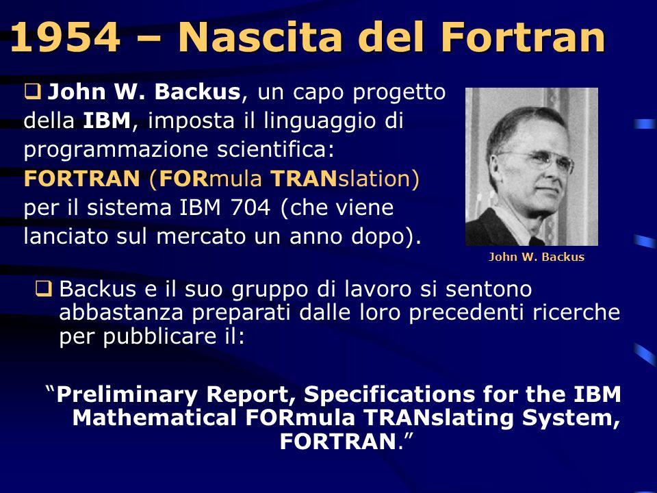 1954 – Nascita del Fortran John W. Backus, un capo progetto