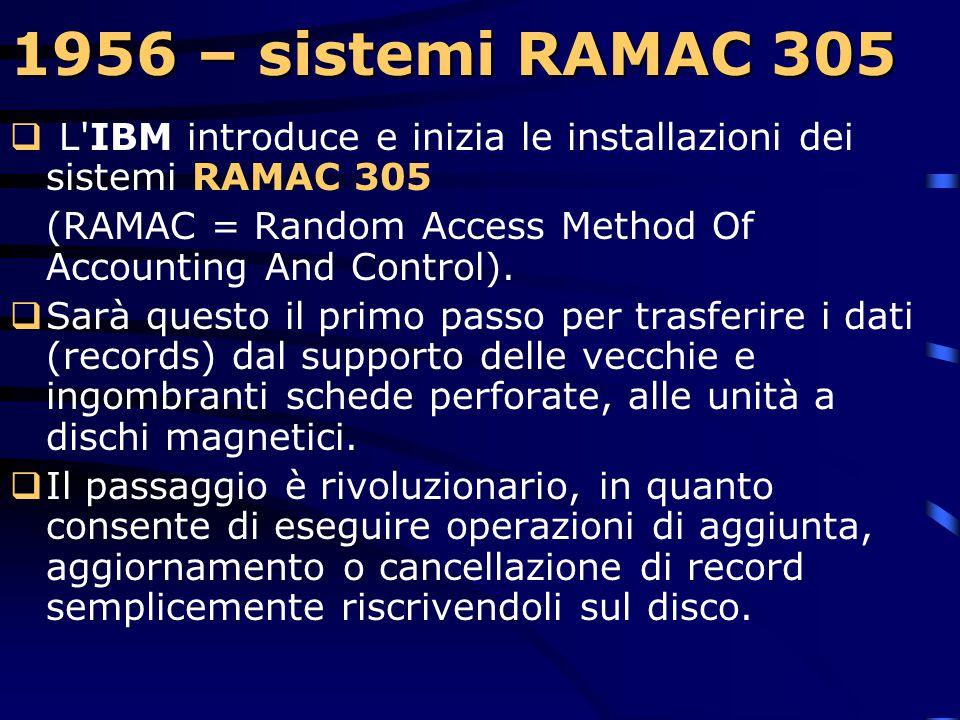 1956 – sistemi RAMAC 305 L IBM introduce e inizia le installazioni dei sistemi RAMAC 305