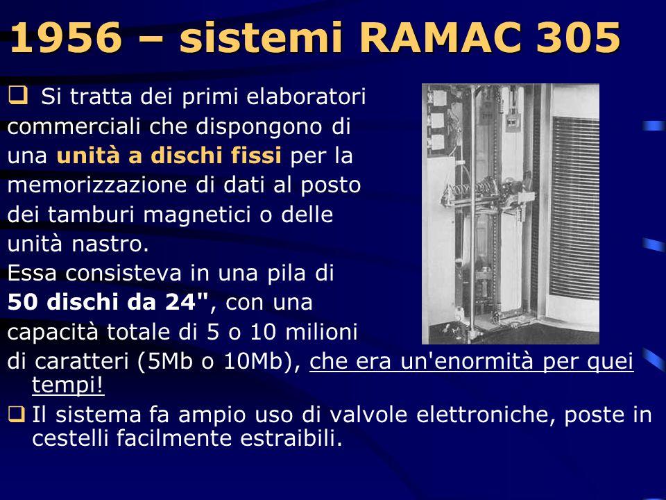 1956 – sistemi RAMAC 305 Si tratta dei primi elaboratori