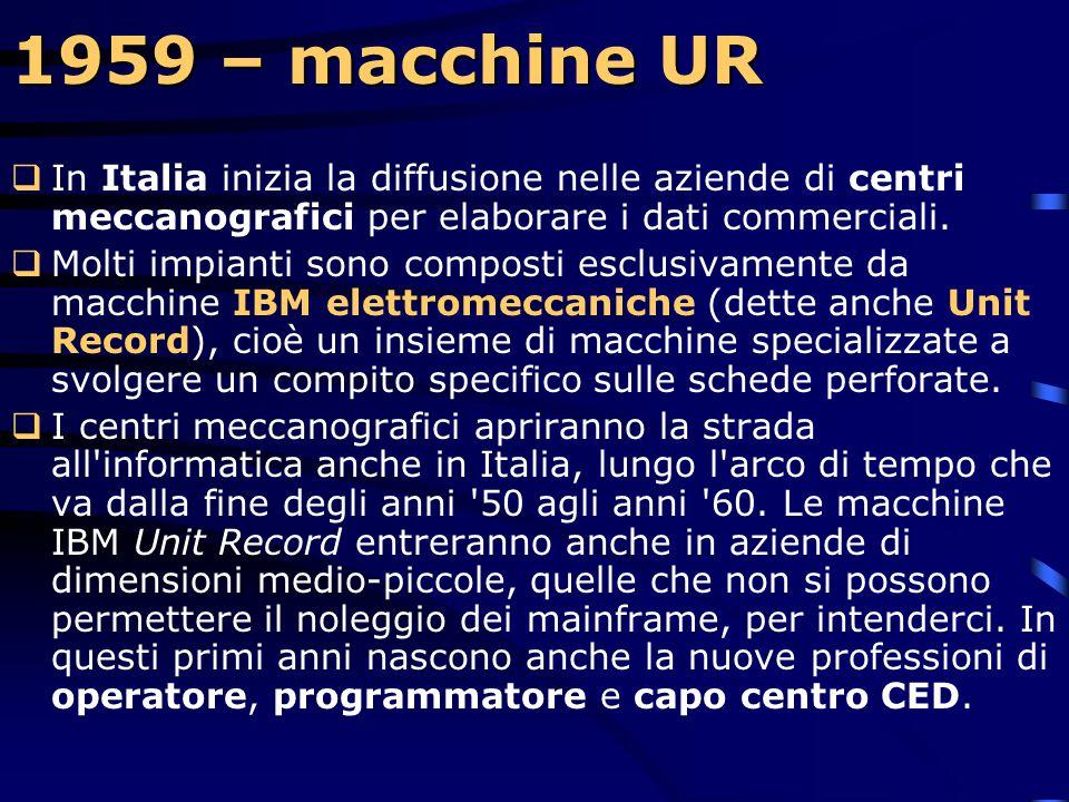 1959 – macchine UR In Italia inizia la diffusione nelle aziende di centri meccanografici per elaborare i dati commerciali.