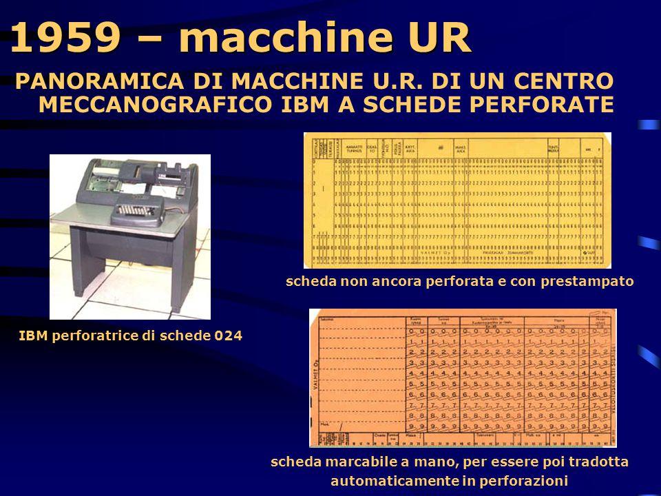 1959 – macchine UR PANORAMICA DI MACCHINE U.R. DI UN CENTRO MECCANOGRAFICO IBM A SCHEDE PERFORATE. scheda non ancora perforata e con prestampato.