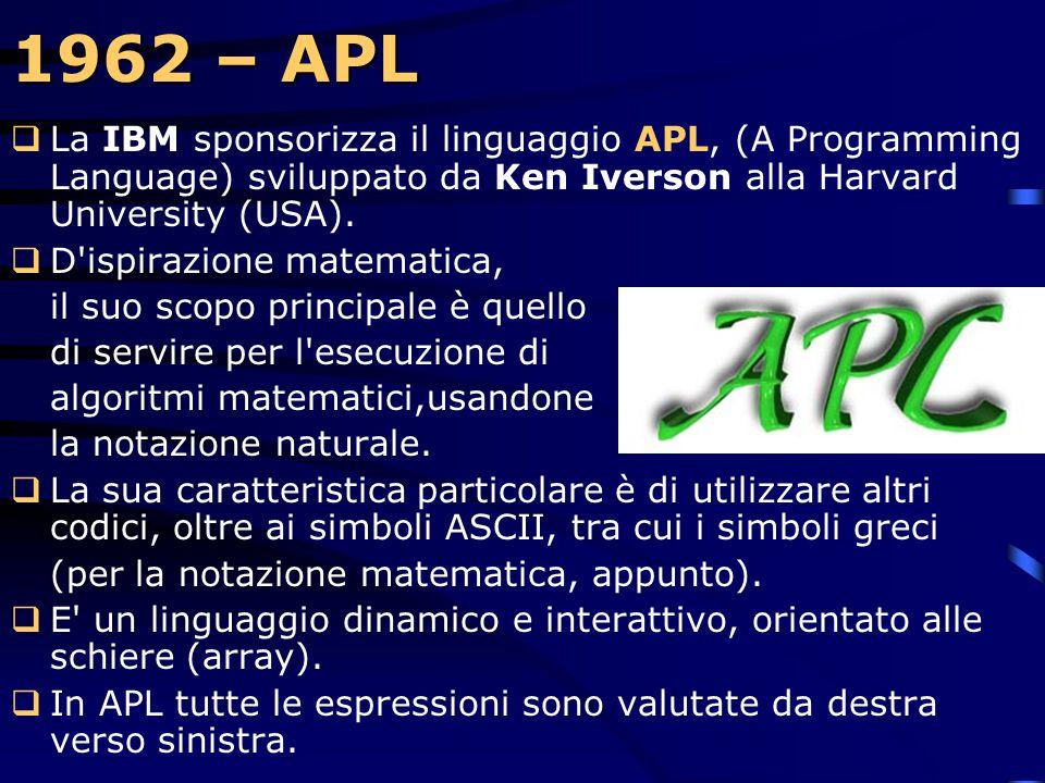 1962 – APL La IBM sponsorizza il linguaggio APL, (A Programming Language) sviluppato da Ken Iverson alla Harvard University (USA).