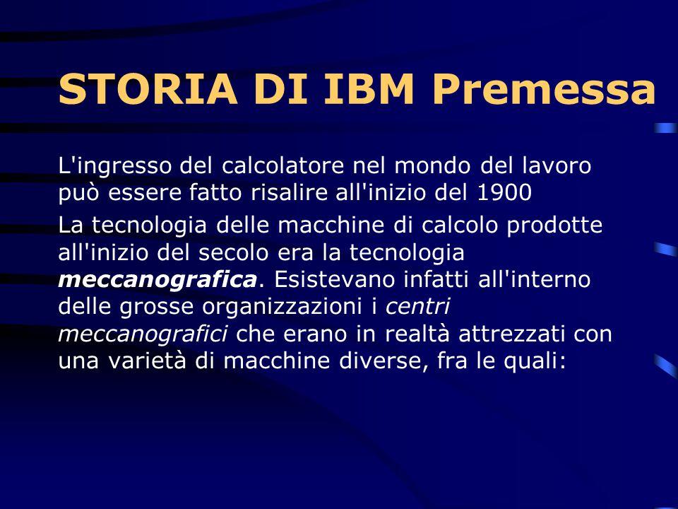 STORIA DI IBM Premessa L ingresso del calcolatore nel mondo del lavoro può essere fatto risalire all inizio del 1900.