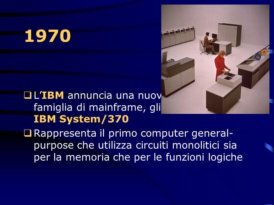 1970 L'IBM annuncia una nuova famiglia di mainframe, gli IBM System/370.