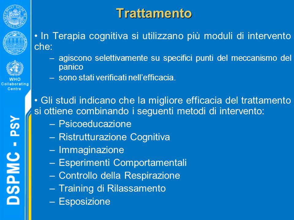 Trattamento In Terapia cognitiva si utilizzano più moduli di intervento che: agiscono selettivamente su specifici punti del meccanismo del panico.