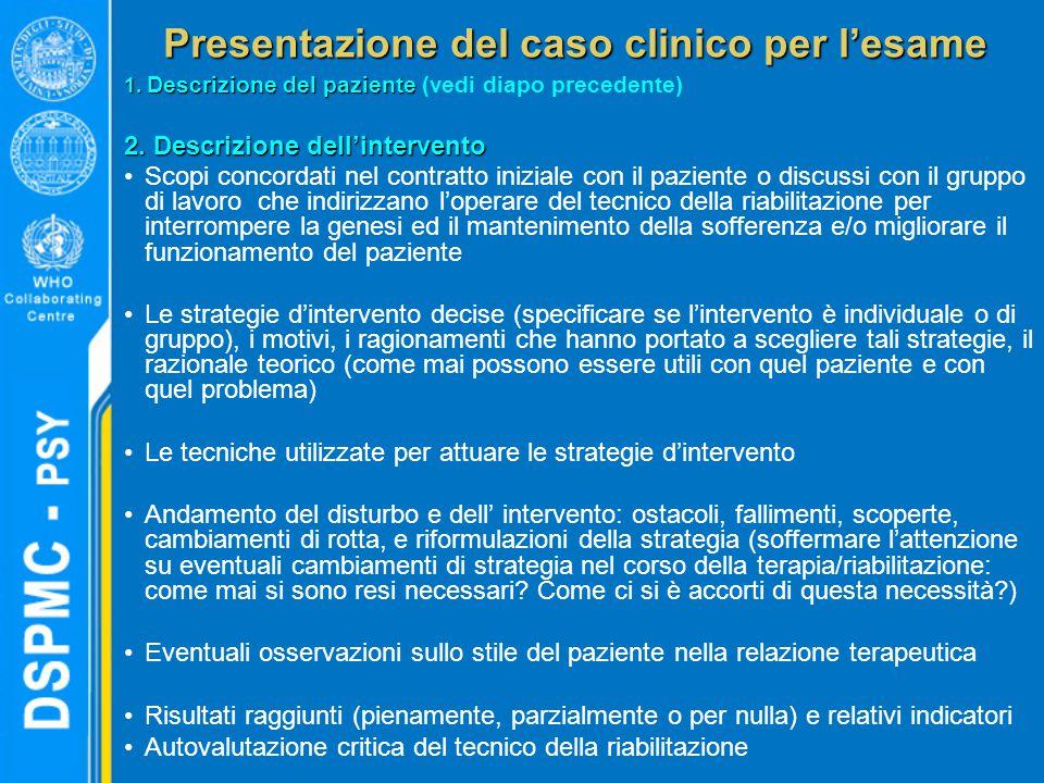 Presentazione del caso clinico per l'esame