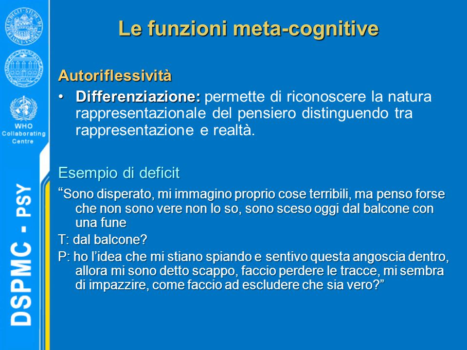 Le funzioni meta-cognitive