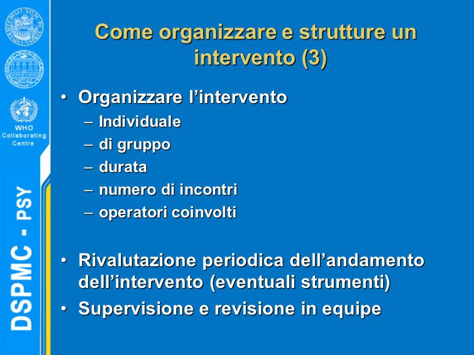 Come organizzare e strutture un intervento (3)