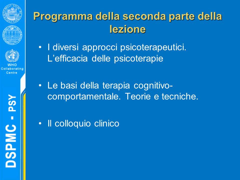 Programma della seconda parte della lezione