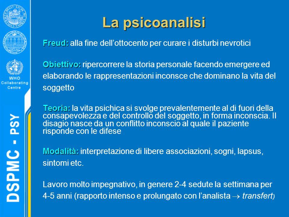 La psicoanalisi Freud: alla fine dell'ottocento per curare i disturbi nevrotici.