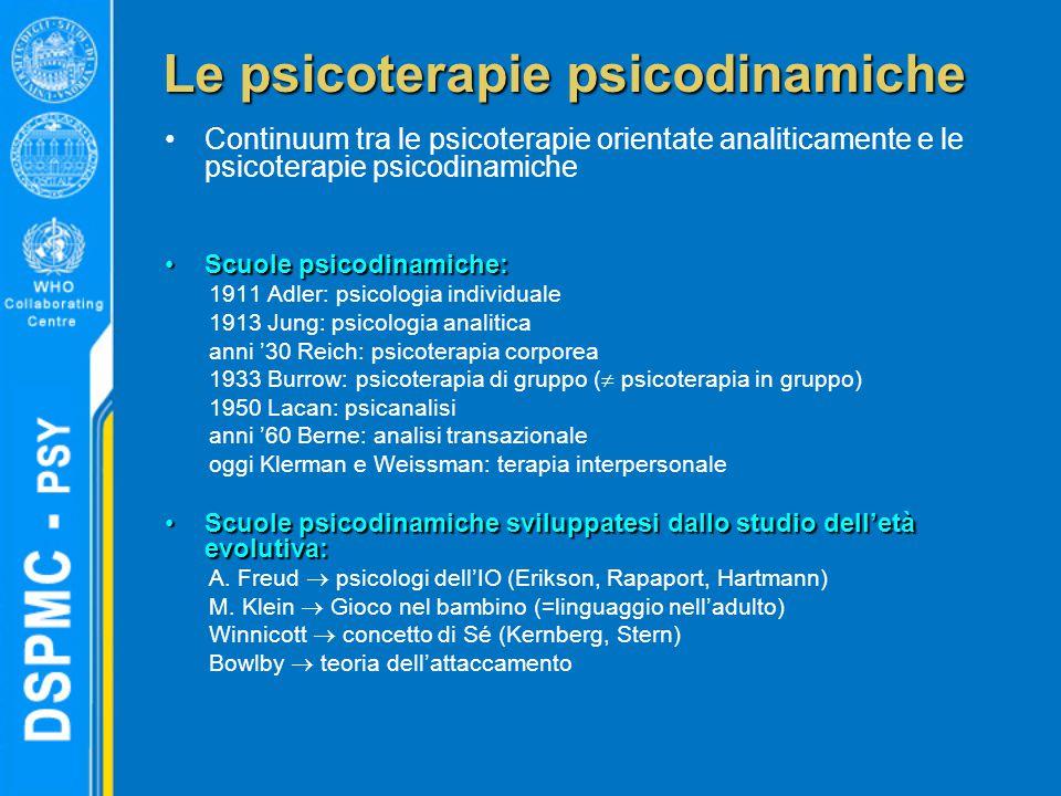 Le psicoterapie psicodinamiche