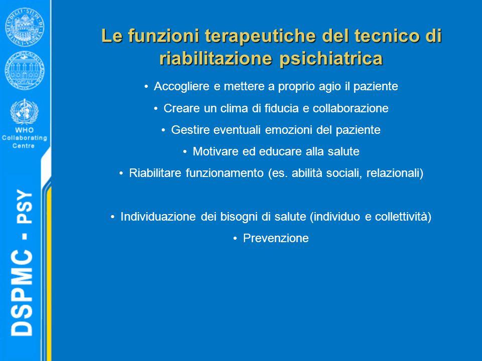 Le funzioni terapeutiche del tecnico di riabilitazione psichiatrica