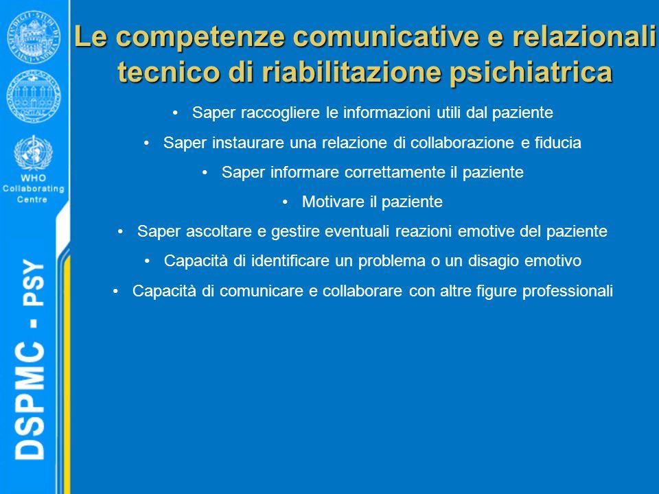 Le competenze comunicative e relazionali tecnico di riabilitazione psichiatrica