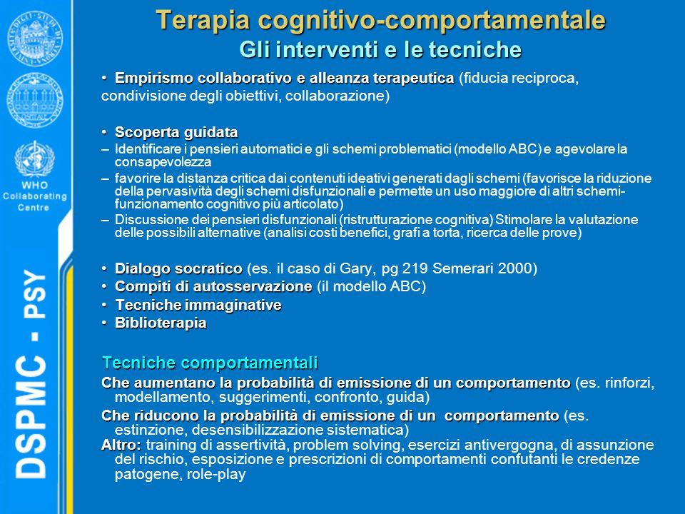 Terapia cognitivo-comportamentale Gli interventi e le tecniche