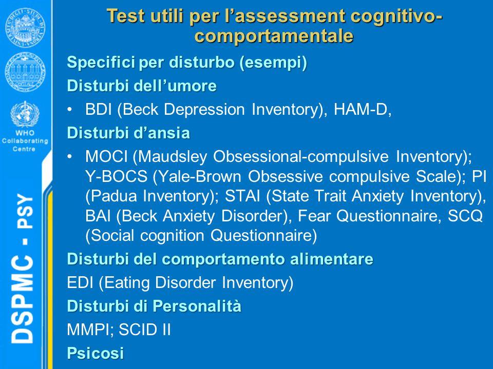 Test utili per l'assessment cognitivo- comportamentale