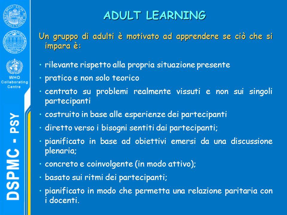 ADULT LEARNING Un gruppo di adulti è motivato ad apprendere se ciò che si impara è: rilevante rispetto alla propria situazione presente.