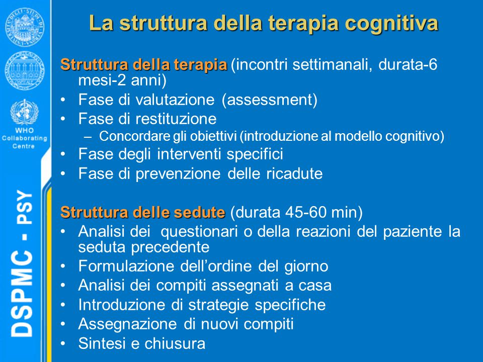 La struttura della terapia cognitiva