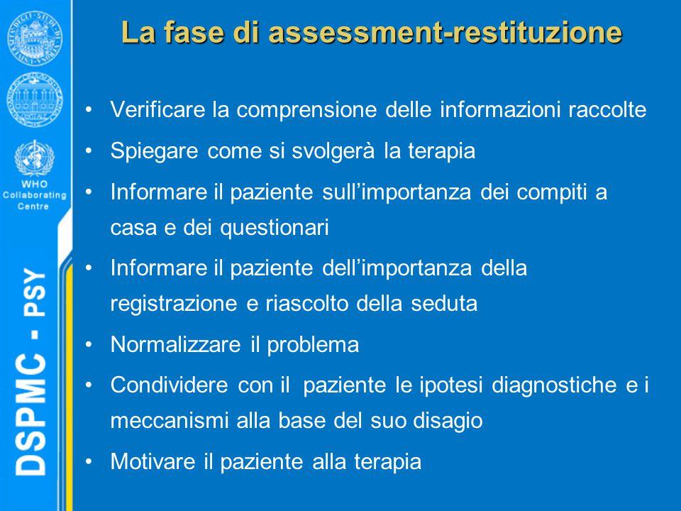 La fase di assessment-restituzione