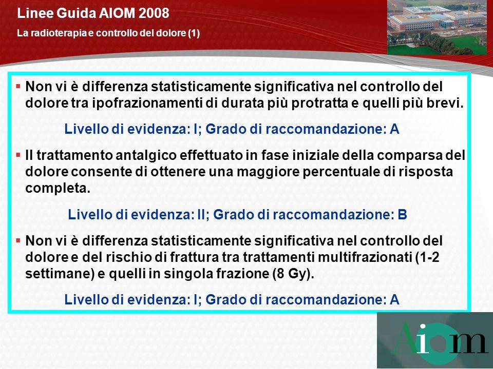 Linee Guida AIOM 2008 La radioterapia e controllo del dolore (1)