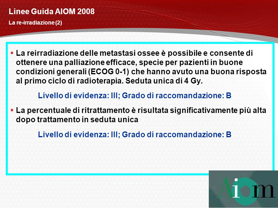 Linee Guida AIOM 2008 La re-irradiazione (2)