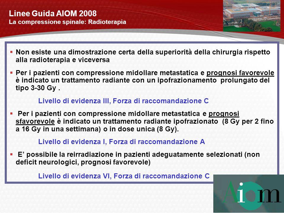 Linee Guida AIOM 2008 La compressione spinale: Radioterapia