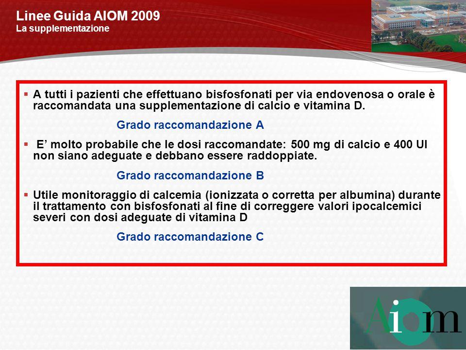 Linee Guida AIOM 2009 La supplementazione