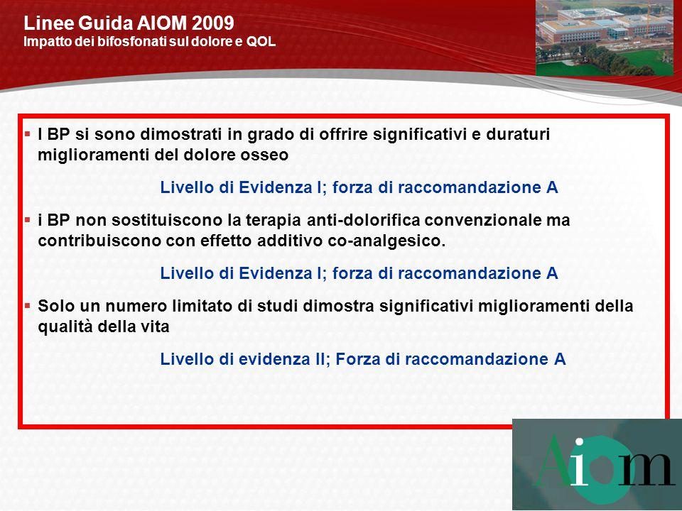 Linee Guida AIOM 2009 Impatto dei bifosfonati sul dolore e QOL