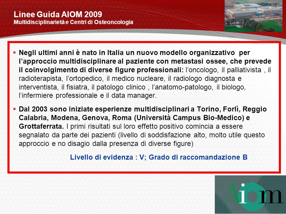 Linee Guida AIOM 2009 Multidisciplinarietà e Centri di Osteoncologia