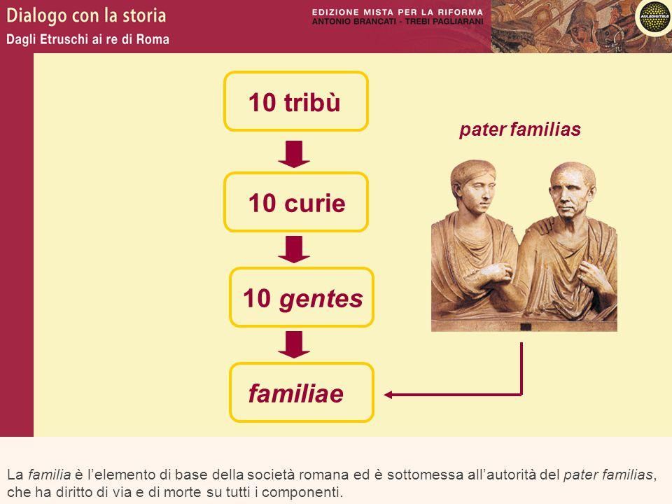 10 tribù 10 curie 10 gentes familiae pater familias