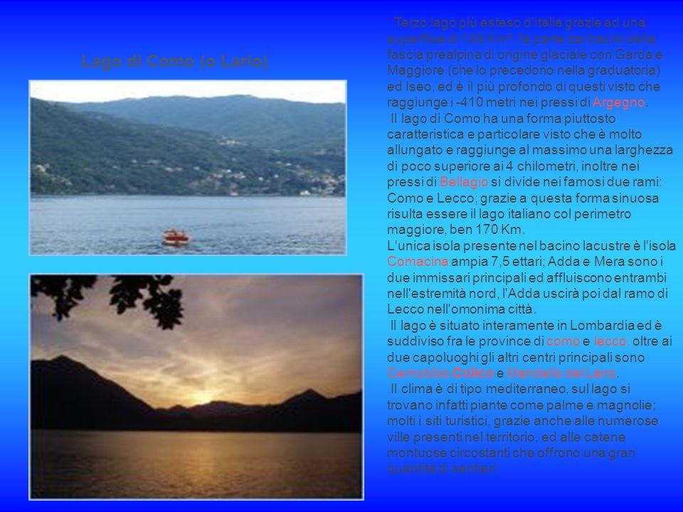 Terzo lago più esteso d Italia grazie ad una superficie di 146 Km², fa parte dei bacini della fascia prealpina di origine glaciale con Garda e Maggiore (che lo precedono nella graduatoria) ed Iseo, ed è il più profondo di questi visto che raggiunge i -410 metri nei pressi di Argegno. Il lago di Como ha una forma piuttosto caratteristica e particolare visto che è molto allungato e raggiunge al massimo una larghezza di poco superiore ai 4 chilometri, inoltre nei pressi di Bellagio si divide nei famosi due rami: Como e Lecco; grazie a questa forma sinuosa risulta essere il lago italiano col perimetro maggiore, ben 170 Km.