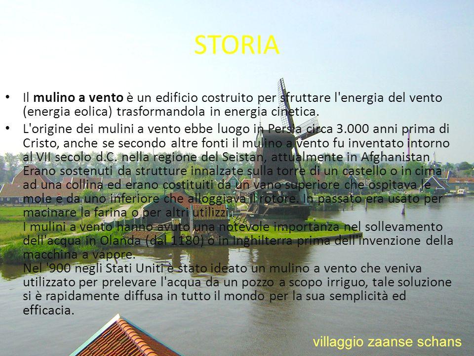 STORIA Il mulino a vento è un edificio costruito per sfruttare l energia del vento (energia eolica) trasformandola in energia cinetica.