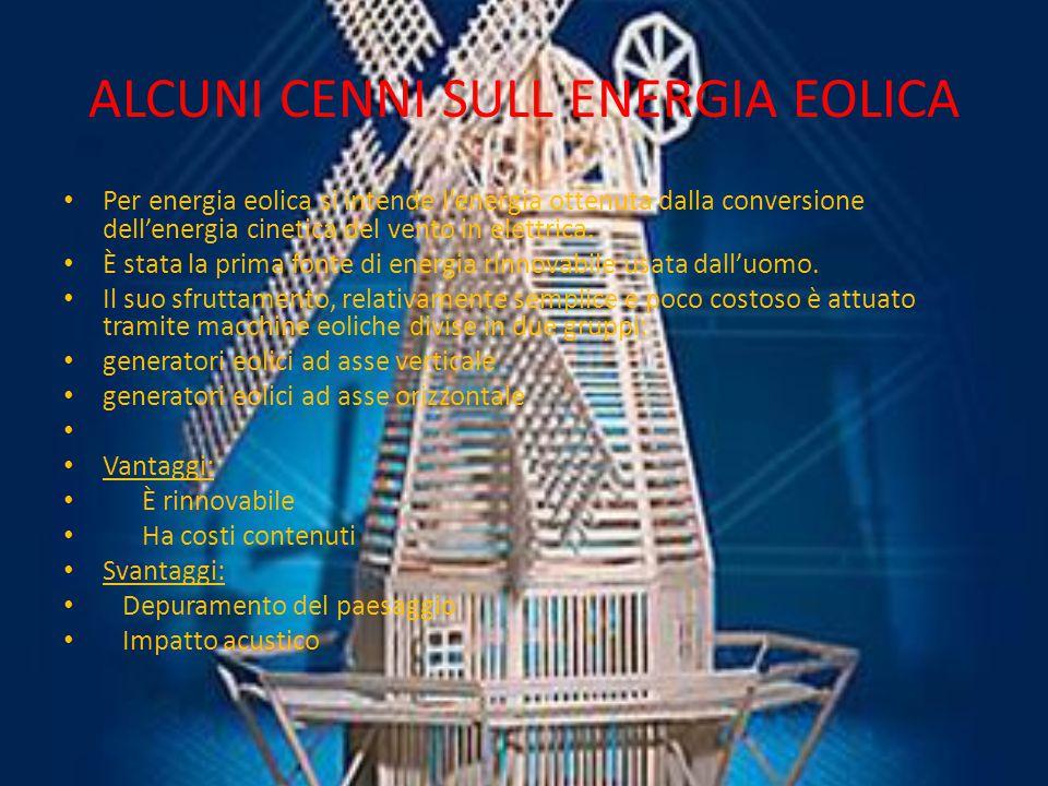 ALCUNI CENNI SULL ENERGIA EOLICA