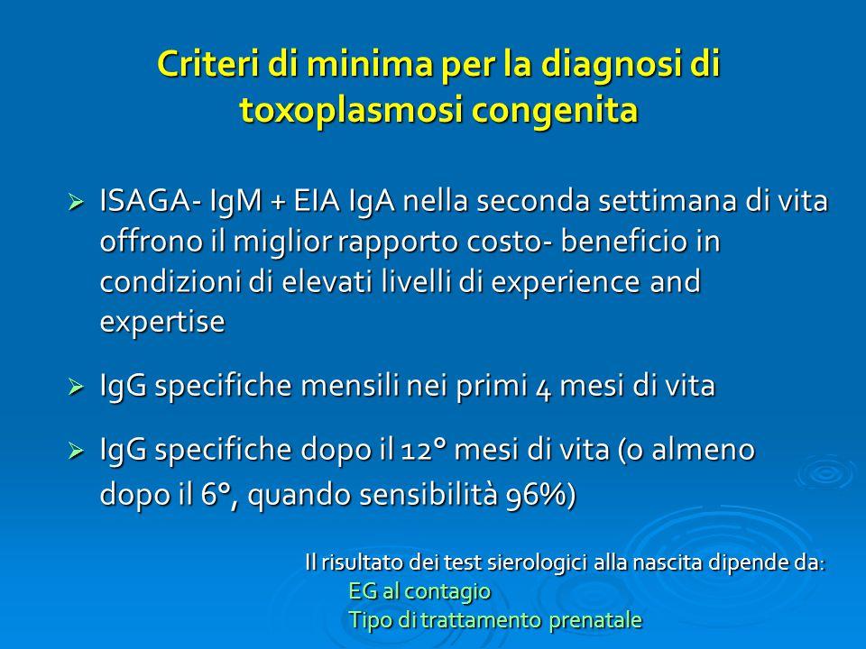 Criteri di minima per la diagnosi di toxoplasmosi congenita