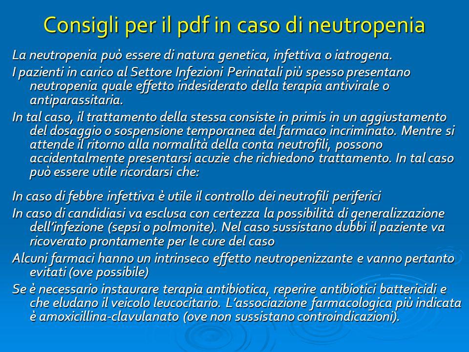 Consigli per il pdf in caso di neutropenia