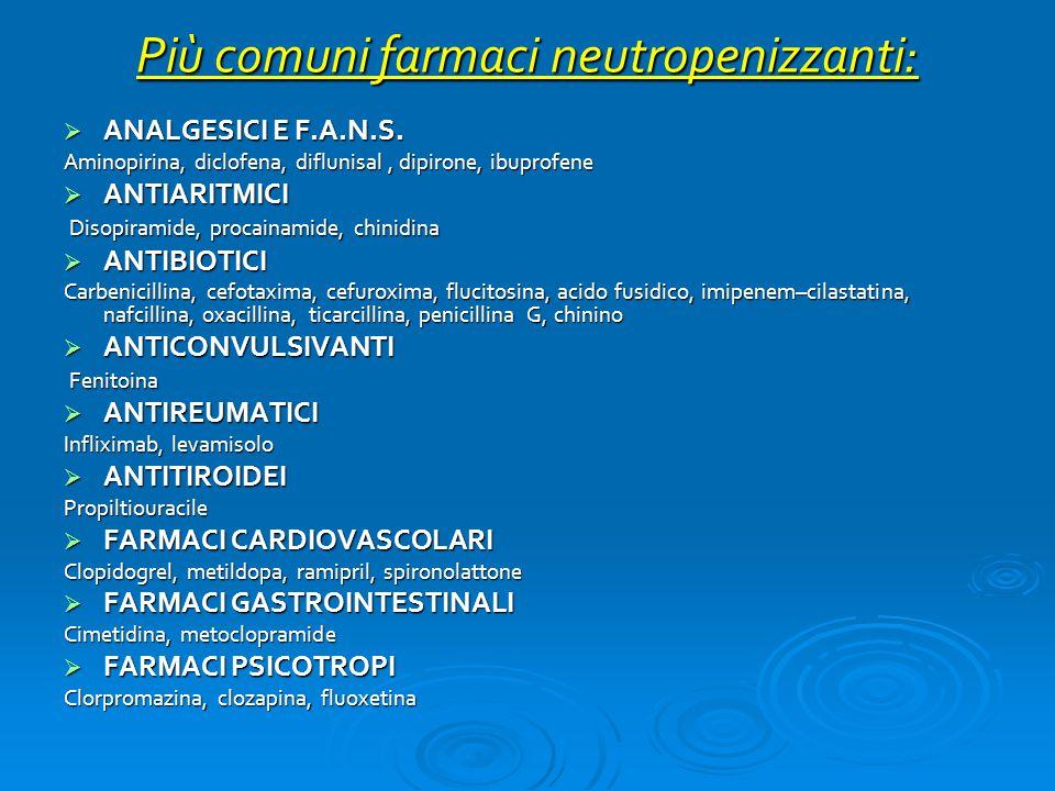 Più comuni farmaci neutropenizzanti: