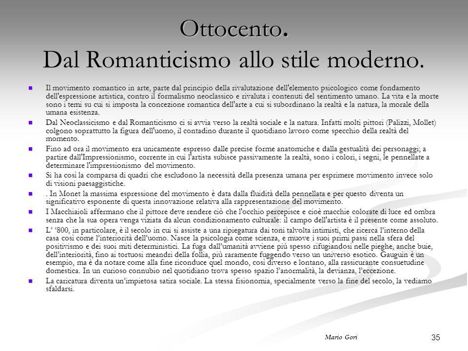 Ottocento. Dal Romanticismo allo stile moderno.