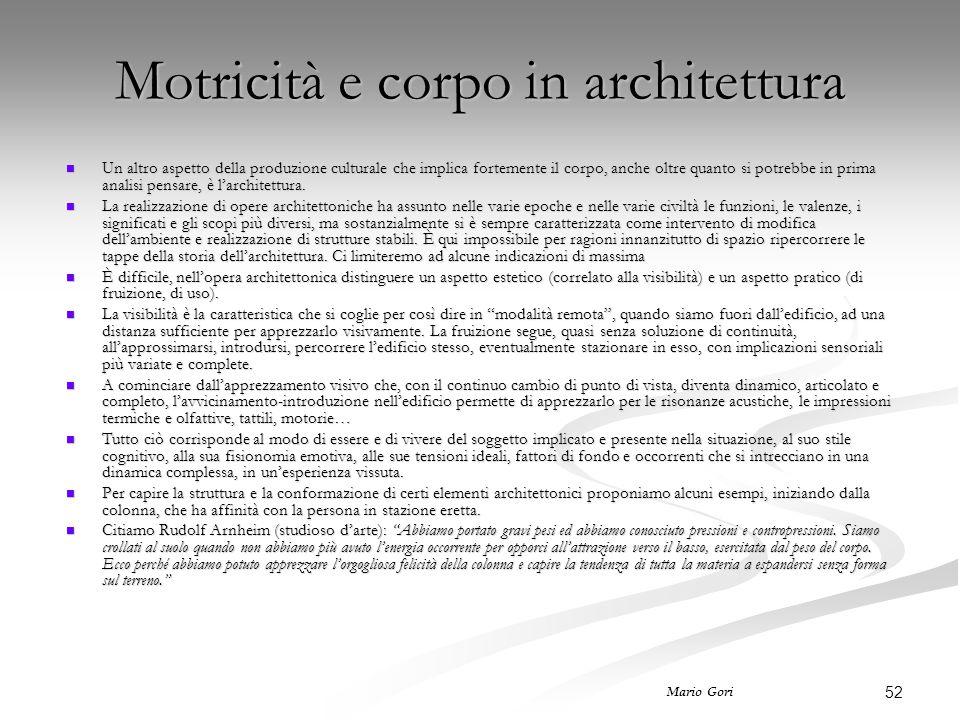 Motricità e corpo in architettura