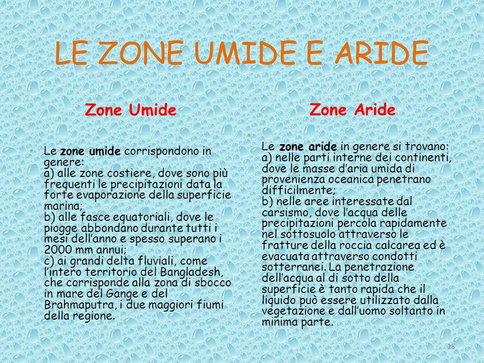 LE ZONE UMIDE E ARIDE Zone Umide Zone Aride