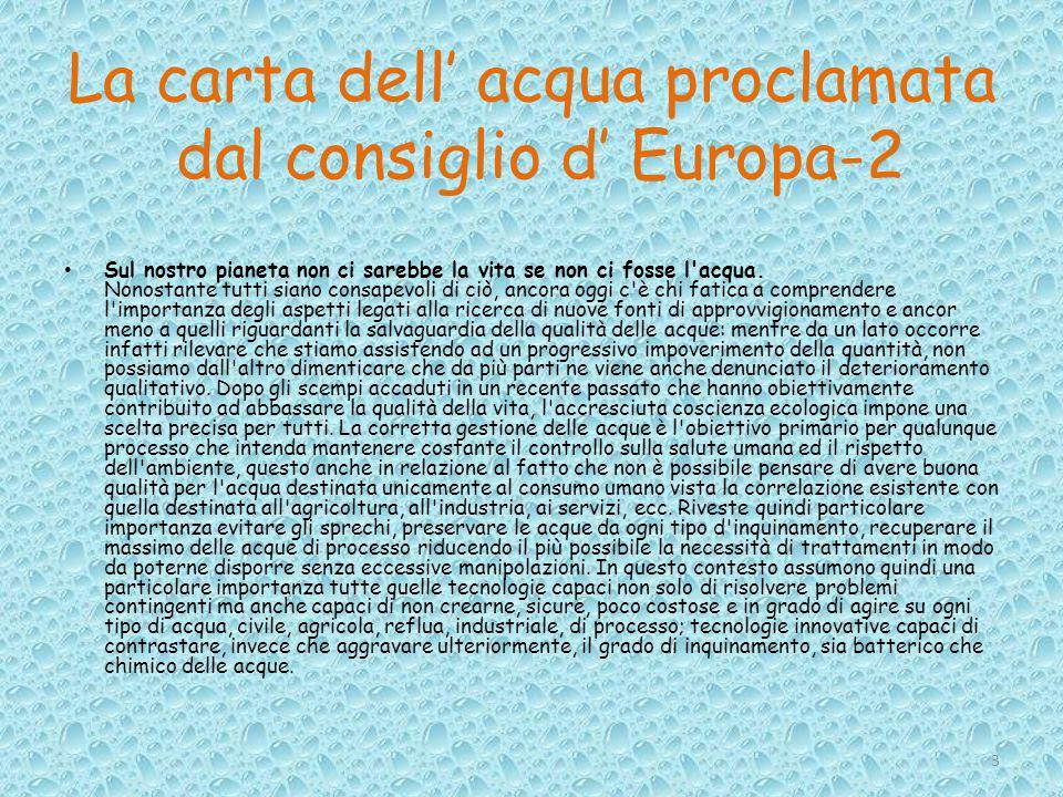 La carta dell' acqua proclamata dal consiglio d' Europa-2