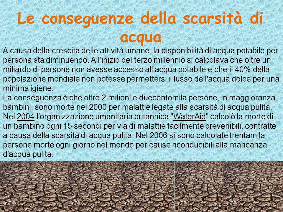 Le conseguenze della scarsità di acqua