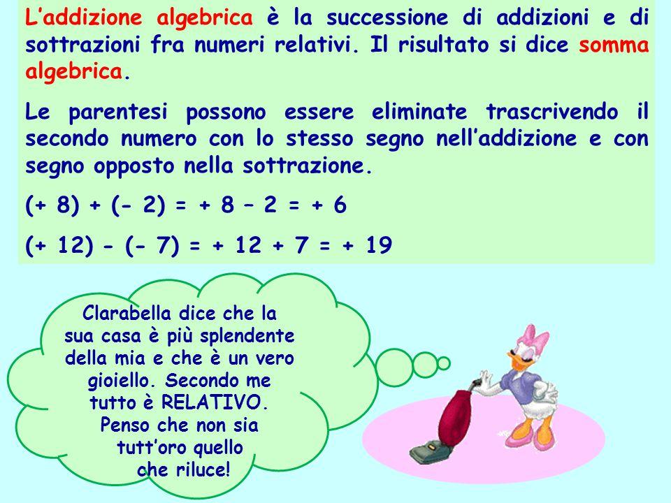 L'addizione algebrica è la successione di addizioni e di sottrazioni fra numeri relativi. Il risultato si dice somma algebrica.