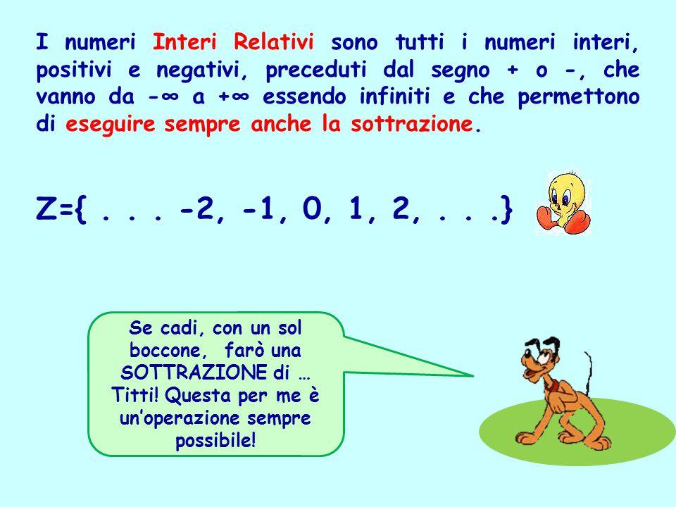 I numeri Interi Relativi sono tutti i numeri interi, positivi e negativi, preceduti dal segno + o -, che vanno da -∞ a +∞ essendo infiniti e che permettono di eseguire sempre anche la sottrazione.