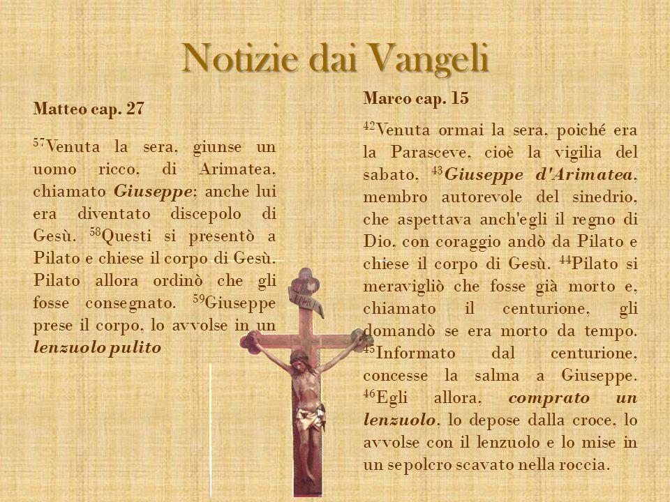 Notizie dai Vangeli Marco cap. 15 Matteo cap. 27