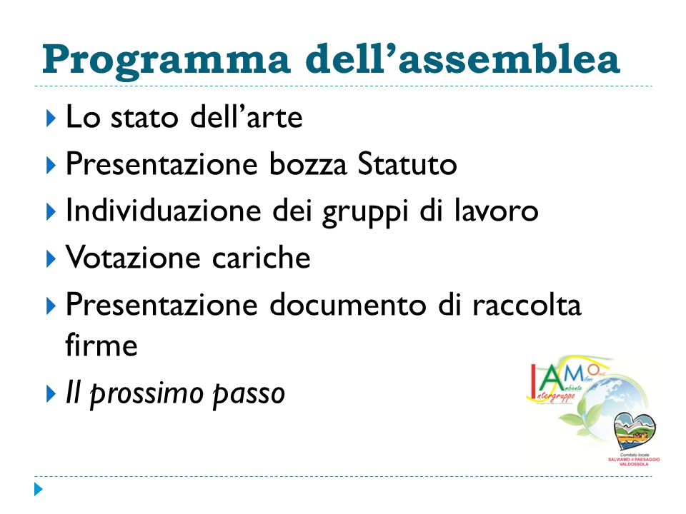 Programma dell'assemblea
