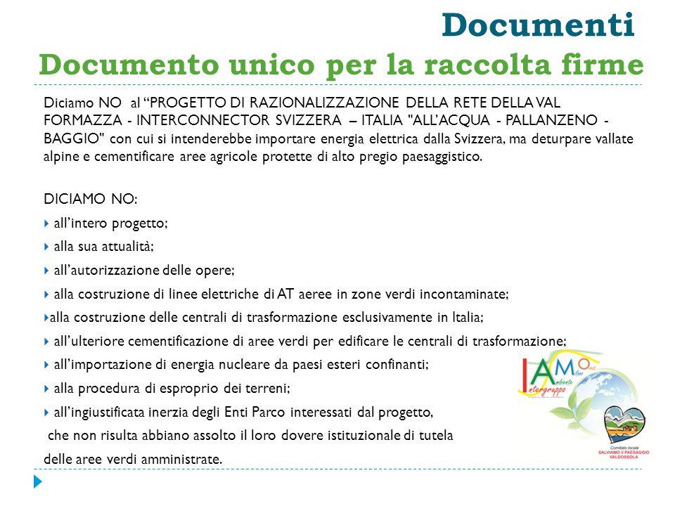 Documenti Documento unico per la raccolta firme