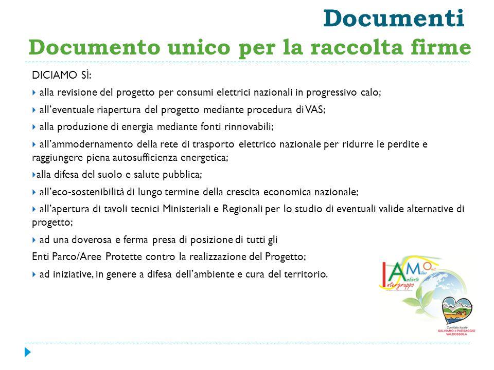 Documenti Documento unico per la raccolta firme DICIAMO SÌ: