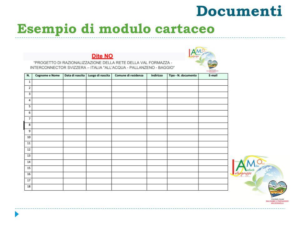 Documenti Esempio di modulo cartaceo